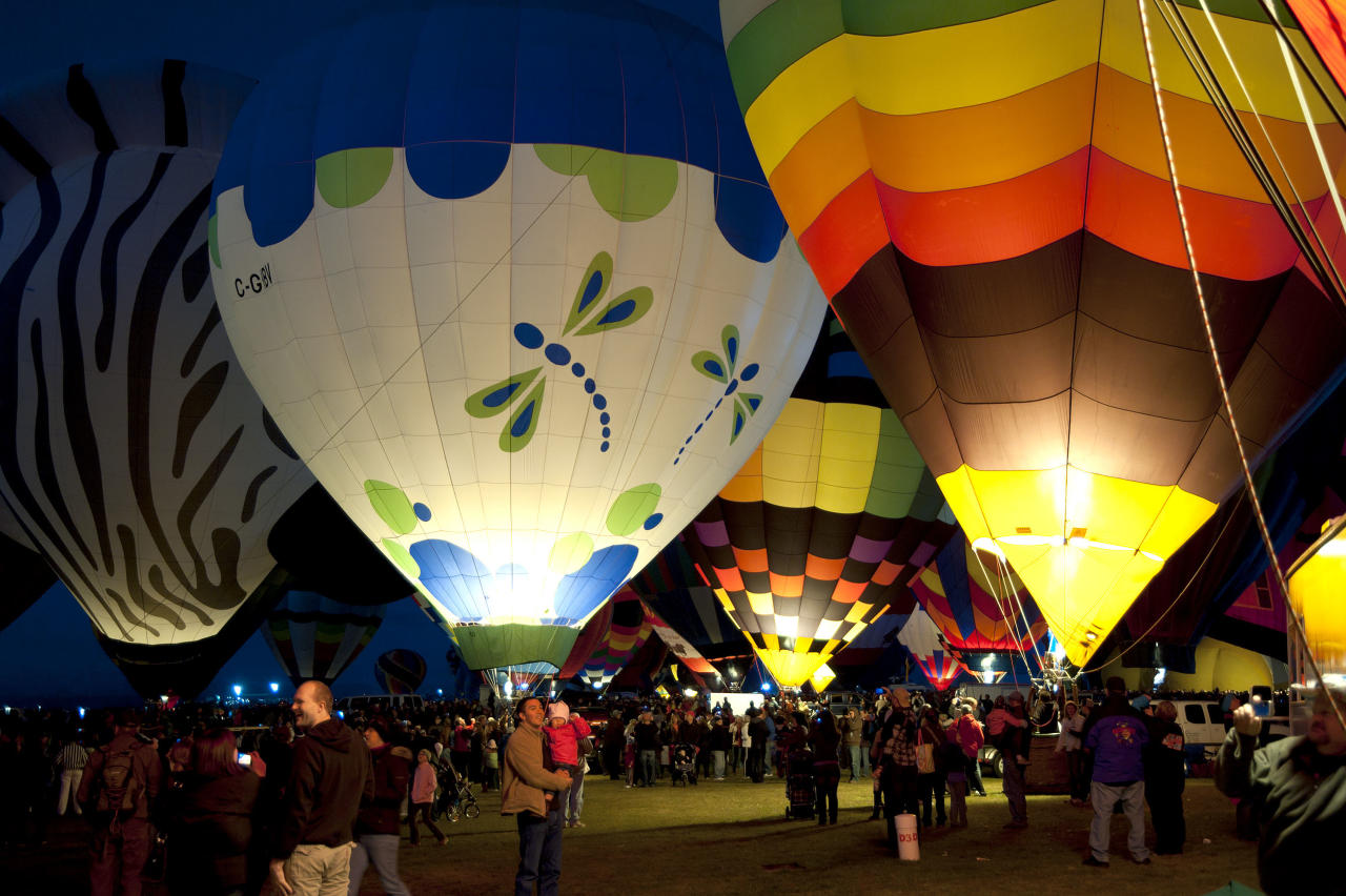 A general view of atmosphere at the Balloon Glow during the 40th Annual Albuquerque International Balloon Fiesta on October 8, 2011 in Albuquerque, New Mexico. There are more than 650 pilots registered to fly over 500 hot air balloons representing 20 countries in this year's 40th Annual Albuquerque International Balloon Fiesta.  (Photo by Steve Snowden/Getty Images)