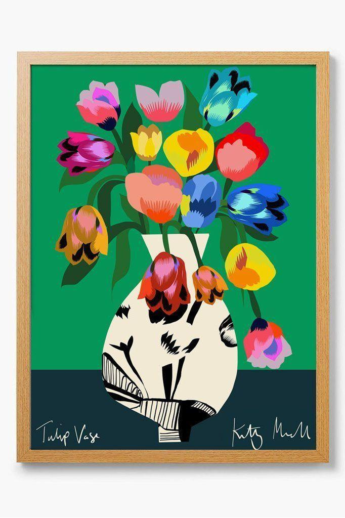 "<p><a class=""link rapid-noclick-resp"" href=""https://www.kittymccall.com/collections/all-art-prints/products/tulip-vase-fine-art-giclee-print"" rel=""nofollow noopener"" target=""_blank"" data-ylk=""slk:SHOP NOW"">SHOP NOW</a></p><p>Kitty McCall, a graphic print designer based in the Kent seaside of Folkestone, creates mood-boosting artworks that will instantly brighten your living space.</p><p>Tulip print, £20, <a href=""https://www.kittymccall.com/collections/all-art-prints/products/tulip-vase-fine-art-giclee-print"" rel=""nofollow noopener"" target=""_blank"" data-ylk=""slk:Kitty McCall"" class=""link rapid-noclick-resp"">Kitty McCall</a></p>"
