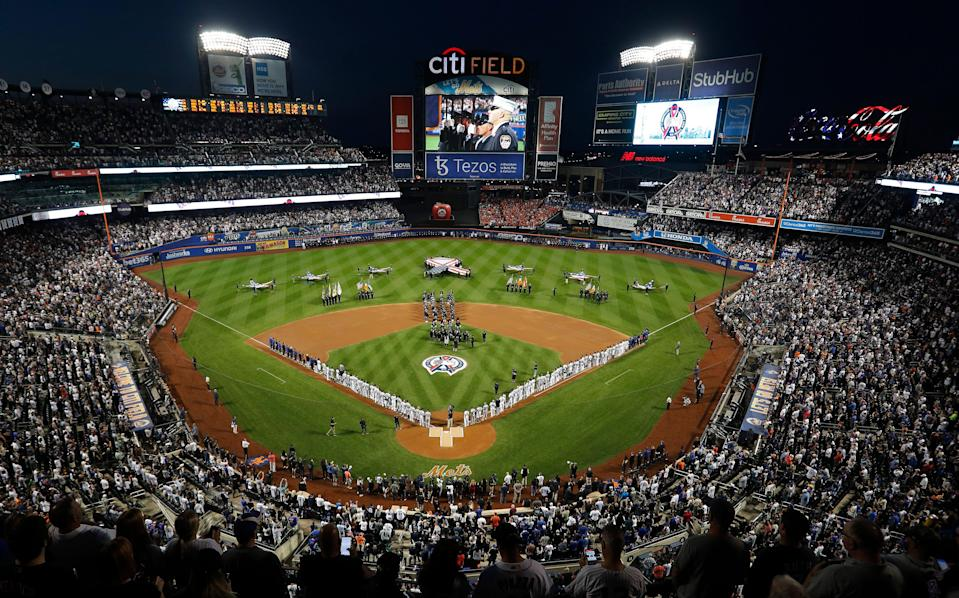 A general view during ceremonies honoring the 20th anniversary of the 9/11 terrorist attacks prior to a game between between the New York Mets and the New York Yankees at Citi Field.