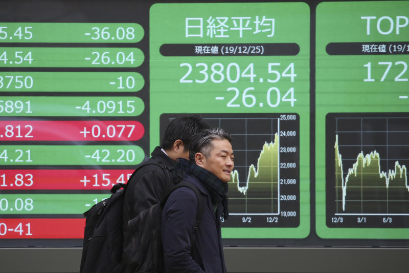 People walk by an electronic stock board of a securities firm in Tokyo, Wednesday, Dec. 25, 2019. Chinese and Japanese stocks declined Wednesday while most other Asian markets were closed for Christmas Day.(AP Photo/Koji Sasahara)