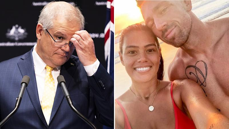 Scott Morrison is pictured in a 50/50 split image next to an Instagram picture of Bryce Cartwright and wife Shanelle.
