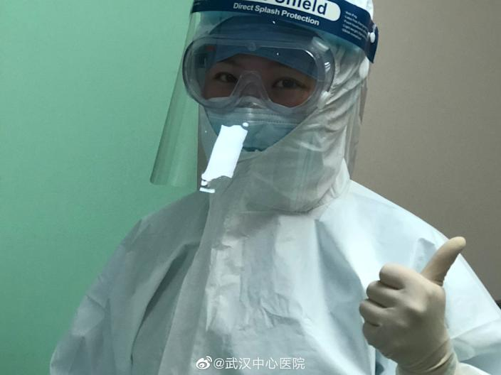 Picture uploaded to social media on January 25, 2020 by the Central Hospital of Wuhan show medical staff, in Wuhan, China