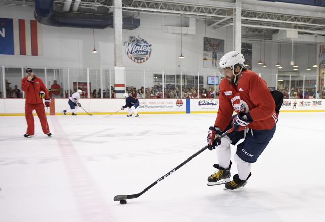 Washington Capitals left wing Alex Ovechkin, of Russia, skates with the puck during NHL hockey practice, Saturday, May 26, 2018, in Arlington, Va. Ovechkin is having fun, scoring goals, leading the Capitals to the Stanley Cup Final and destroying the bad rep some laid on him for not being able to get past the second round of the playoffs. (AP Photo/Nick Wass)