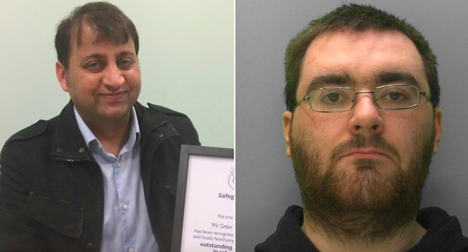 <em>Satbir Arora (left) stopped the teen from meeting twisted paedophile Sam Hewings (right) (SWNS)</em>