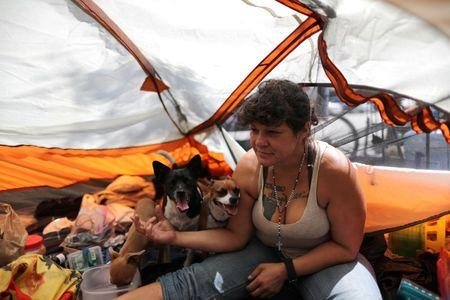 Tashea Martinez, 38, who said she had been homeless since she was a teenager, sits in her tent with her dogs in Los Angeles, California, U.S. April 13, 2018. Picture taken April 13, 2018. REUTERS/Lucy Nicholson