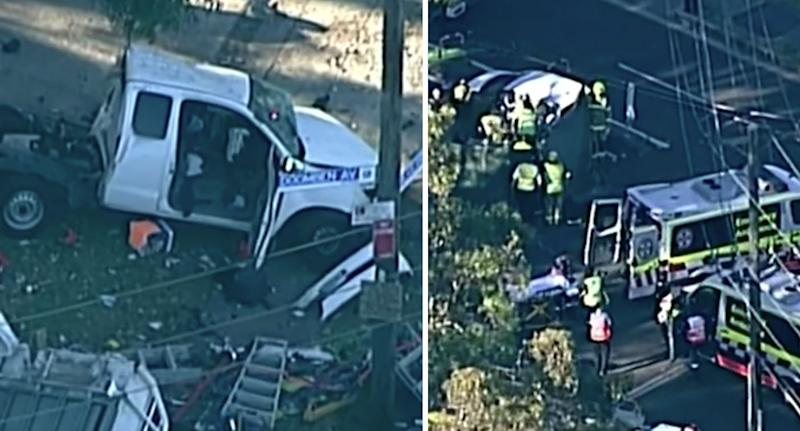 Pictured is a crashed truck (left) and a stretcher outside an ambulance (right).