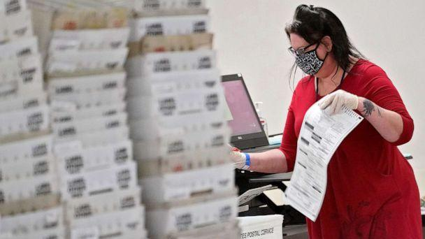 PHOTO:Arizona elections officials continue to count ballots inside the Maricopa County Recorder's Office, Nov. 6, 2020, in Phoenix. (Matt York/AP)