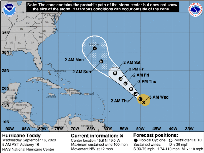 Bermuda, which is still recovering from being struck by Hurricane Paulette a few days ago, is on the path of Hurricane Teddy, according to the National Hurricane Center.