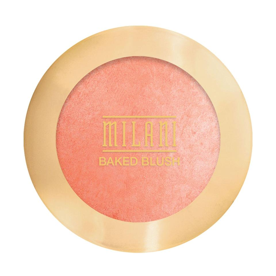 """<p><strong>Milani</strong></p><p>walmart.com</p><p><strong>$6.97</strong></p><p><a href=""""https://go.redirectingat.com?id=74968X1596630&url=https%3A%2F%2Fwww.walmart.com%2Fip%2F17655617&sref=https%3A%2F%2Fwww.goodhousekeeping.com%2Fbeauty-products%2Fg35821694%2Fbest-blush-for-dark-skin%2F"""" rel=""""nofollow noopener"""" target=""""_blank"""" data-ylk=""""slk:Shop Now"""" class=""""link rapid-noclick-resp"""">Shop Now</a></p><p>This small blush compact comes with a mirror so it's perfect for traveling. This peach color contains shimmer, so it <strong><strong>will enhance your natural glow</strong></strong> against yellow undertones. The formula is created with an infusion of shades so it blends to shape, highlight and <a href=""""https://www.goodhousekeeping.com/beauty-products/g32702303/best-bronzers/"""" rel=""""nofollow noopener"""" target=""""_blank"""" data-ylk=""""slk:contour"""" class=""""link rapid-noclick-resp"""">contour</a> your face — all with one product.</p>"""