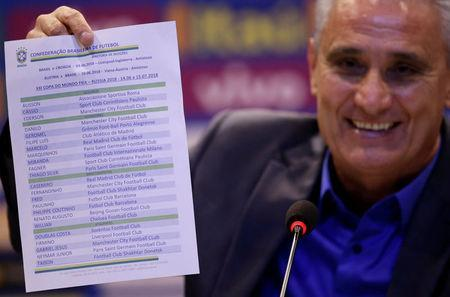Brazil's head coach Tite shows the list with his 23-man squad for the 2018 World Cup in Russia during a news conference in Rio de Janeiro, Brazil May 14, 2018. REUTERS/Ricardo Moraes