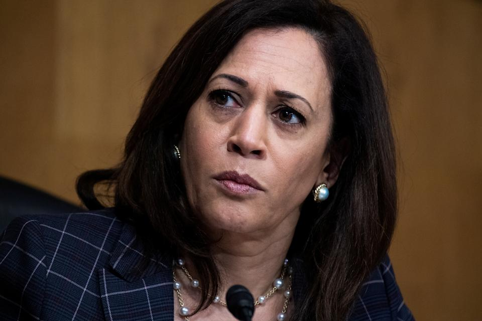 Senator Kamala Harris (D-CA) attends the Senate Homeland Security and Governmental Affairs Committee hearing to examine Customs and Border Protection, focusing on evolving challenges facing the agency, in Dirksen Senate Office Building on Capitol Hill, in Washington, U.S. June 25, 2020. Tom Williams/Pool via REUTERS