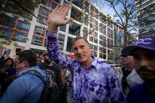 People's Party of Canada Leader Maxime Bernier takes part in a rally outside the Canadian Broadcasting Centre in Toronto on Sept. 16, 2021. (Evan Mitsui/CBC - image credit)