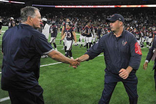 Texans head coach Bill O'Brien and Patriots head coach Bill Belichick share a moment after a preseason game in 2017. (Photo by Ken Murray/Icon Sportswire via Getty Images)