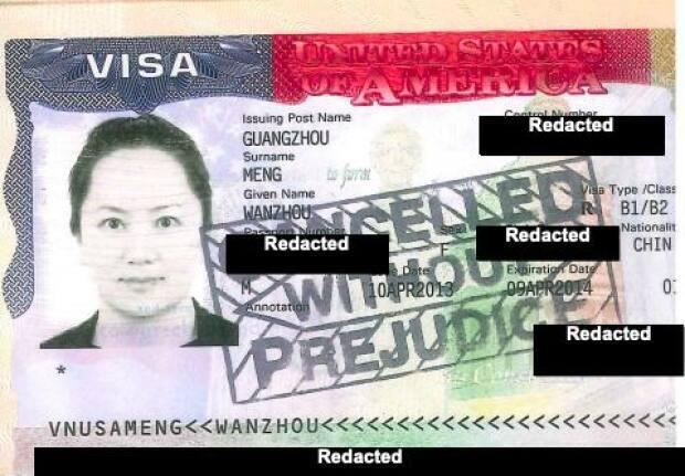 Documents released by B.C. Supreme Court May 5 include this picture of Huawei chief financial officer Meng Wanzhou's cancelled U.S. visa. She faces extradition to New York. (B.C. Supreme Court - image credit)