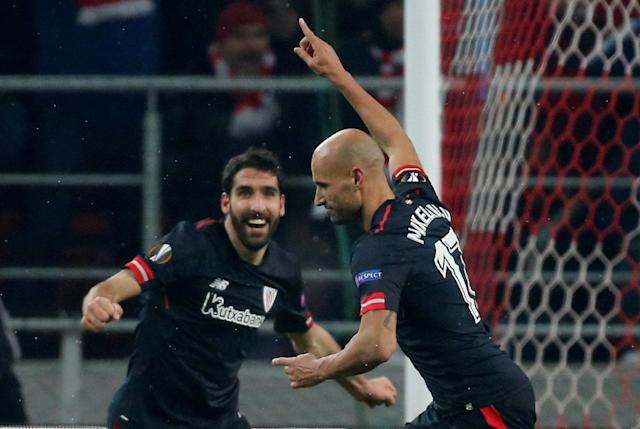 Soccer Football - Europa League Round of 32 First Leg - Spartak Moscow vs Athletic Bilbao - Otkrytiye Arena, Moscow, Russia - February 15, 2018 Athletic Bilbao's Mikel Rico celebrates scoring their third goal REUTERS/Maxim Shemetov