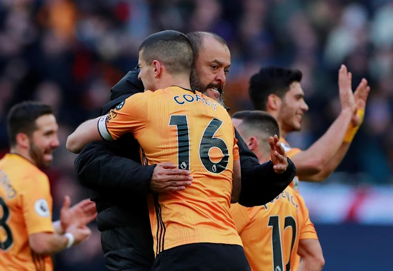 """Soccer Football - Premier League - Tottenham Hotspur v Wolverhampton Wanderers - Tottenham Hotspur Stadium, London, Britain - March 1, 2020 Wolverhampton Wanderers manager Nuno Espirito Santo and Conor Coady celebrate after the match Action Images via Reuters/Andrew Couldridge EDITORIAL USE ONLY. No use with unauthorized audio, video, data, fixture lists, club/league logos or """"live"""" services. Online in-match use limited to 75 images, no video emulation. No use in betting, games or single club/league/player publications. Please contact your account representative for further details."""