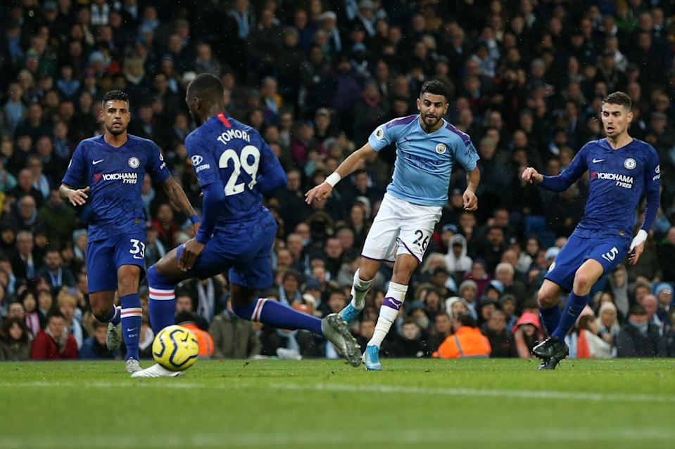 MANCHESTER, ENGLAND - NOVEMBER 23: Riyad Mahrez of Manchester City scores his team's second goal during the Premier League match between Manchester City and Chelsea FC at Etihad Stadium on November 23, 2019 in Manchester, United Kingdom. (Photo by Manchester City FC/Manchester City FC via Getty Images)