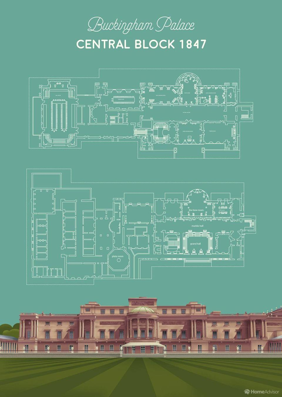 <p>The first thing you see when you enter Buckingham Palace, according to the HomeAdvisor floor plans, is the grand staircase, which is lined with luxurious red carpet and decorated with portraits of the royal family. </p><p>Upstairs, you'll find the Music Room (which has hosted several royal christenings, including Prince William's). And across the hallway, there's the iconic Green Drawing Room, where the Queen hosts her weekly meetings with the Prime Minister.</p>