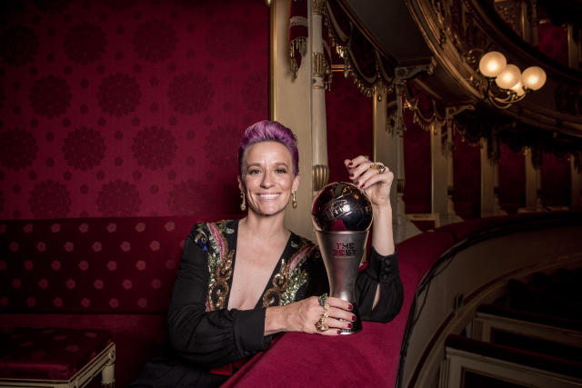 Rapinoe with her FIFA Best Women's Player Award (Credit: Getty Images)