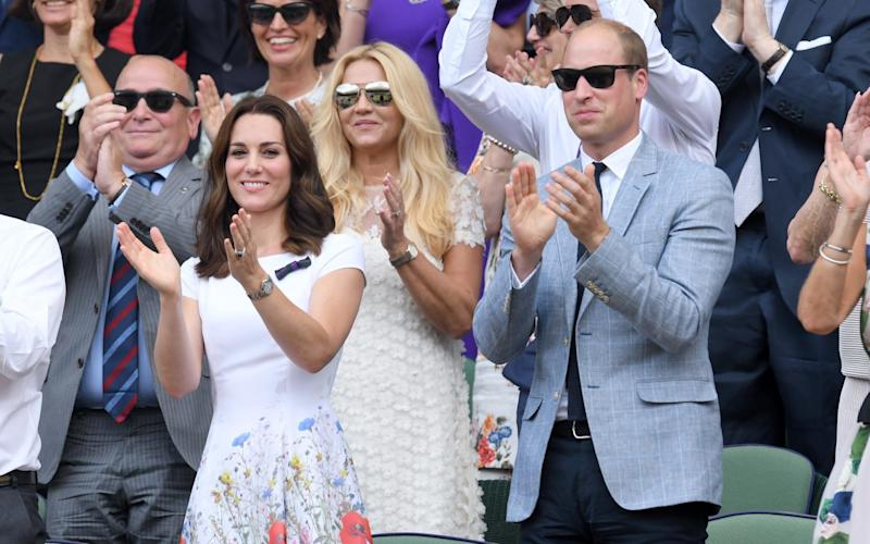 The Duchess of Cambridge cheering Roger Federer - Credit: WireImage