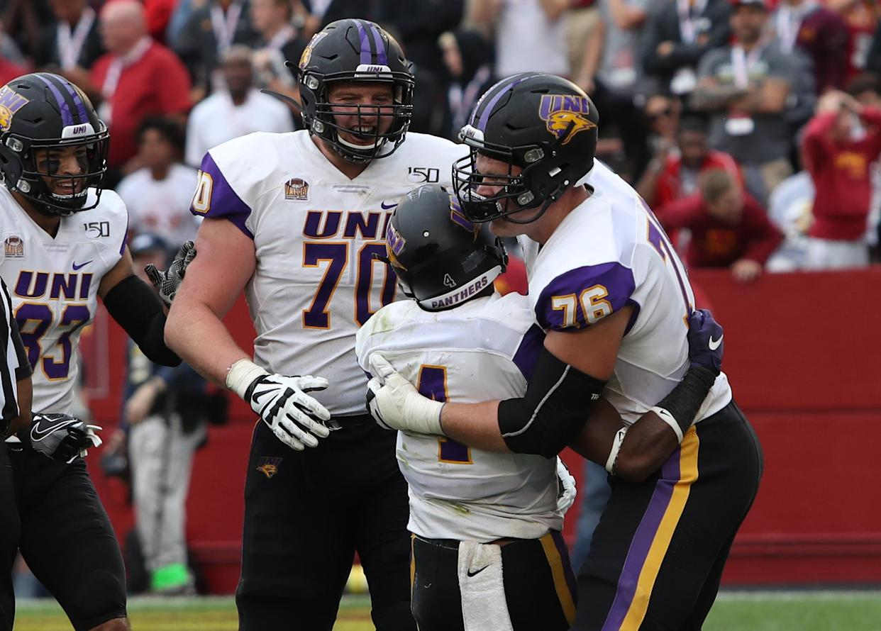 In 2019, Northern Iowa's Trevor Penning (70) faced Iowa State as a sophomore right guard. Saturday, he gets to face ISU as a bonafide NFL prospect at left tackle. (Reese Strickland-USA TODAY Sports
