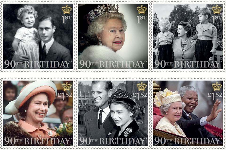LONDON, UNITED KINGDOM - UNDATED:  This Handout image released by the Royal Mail on April 20, 2016, shows six stamps issued to mark the 90th birthday of Queen Elizabeth II including images of Queen Elizabeth II: with her father; attending the State Opening of Parliament in 2012; with Princess Anne and Prince Charles in 1952; visiting New Zealand in 1977; with The Duke of Edinburgh in 1957; and with Nelson Mandela in 1996. (Photo by Royal Mail/Getty Images)