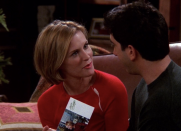 "<p>The drama is plentiful in this episode (which is why we love it so much). Things get complicated very quickly when Ross's new girlfriend Mona (<strong>Bonnie Somerville</strong>) suggests sending out holiday cards together. Chandler also makes things messy when he lies to his boss and tells him that he has divorced Monica. As for Rachel, her pregnancy hormones make her want to sleep with both Ross <em><u>and</u></em> Joey. Talk about a lot going on!</p><p><a class=""link rapid-noclick-resp"" href=""https://www.amazon.com/gp/video/detail/B002AS4KEW/?tag=syn-yahoo-20&ascsubtag=%5Bartid%7C10055.g.34990101%5Bsrc%7Cyahoo-us"" rel=""nofollow noopener"" target=""_blank"" data-ylk=""slk:WATCH ON AMAZON"">WATCH ON AMAZON</a></p>"