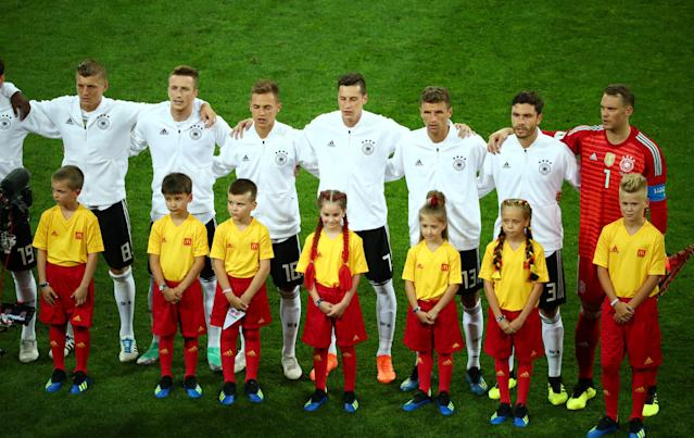 Soccer Football - World Cup - Group F - Germany vs Sweden - Fisht Stadium, Sochi, Russia - June 23, 2018 Germany players line up during the national anthems before the match REUTERS/Hannah McKay