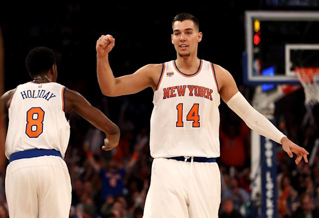 "<a class=""link rapid-noclick-resp"" href=""/nba/players/5495/"" data-ylk=""slk:Willy Hernangomez"">Willy Hernangomez</a> has fallen out of the Knicks' rotation. (Getty Images)"