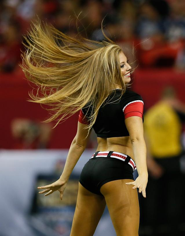 ATLANTA, GA - SEPTEMBER 29: An Atlanta Falcons cheerleader perform during the game against the New England Patriots at Georgia Dome on September 29, 2013 in Atlanta, Georgia. (Photo by Kevin C. Cox/Getty Images)