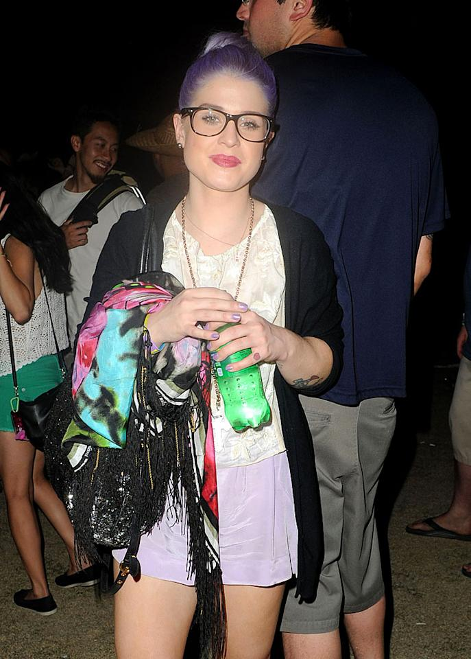 """Fashion Police"" commentator Kelly Osbourne, in black glasses at the Coachella music festival in April, shares eyewear updates with her Twitter followers, recently posting a photo of new frames along with the caption: ""I can finally see I got my new glasses today I love them!!!!"""