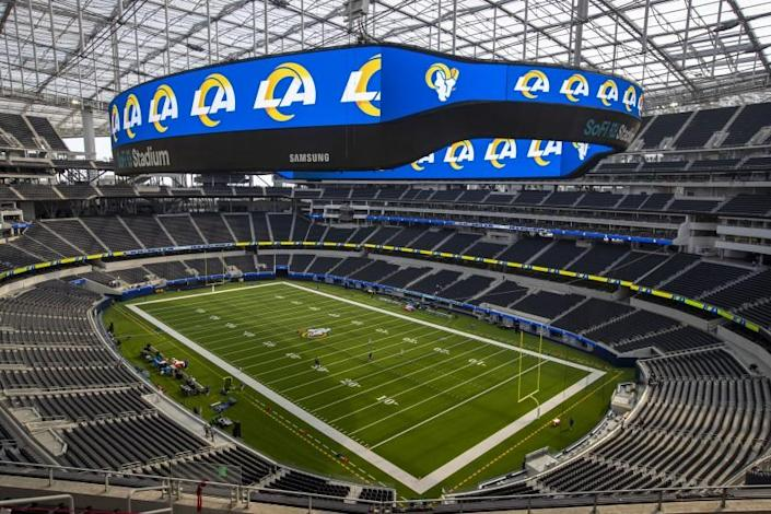"""The Rams are scheduled to host the Dallas Cowboys on Sunday night in the first event to be held at SoFi Stadium in Inglewood. <span class=""""copyright"""">(Brian van der Brug / Los Angeles Times)</span>"""