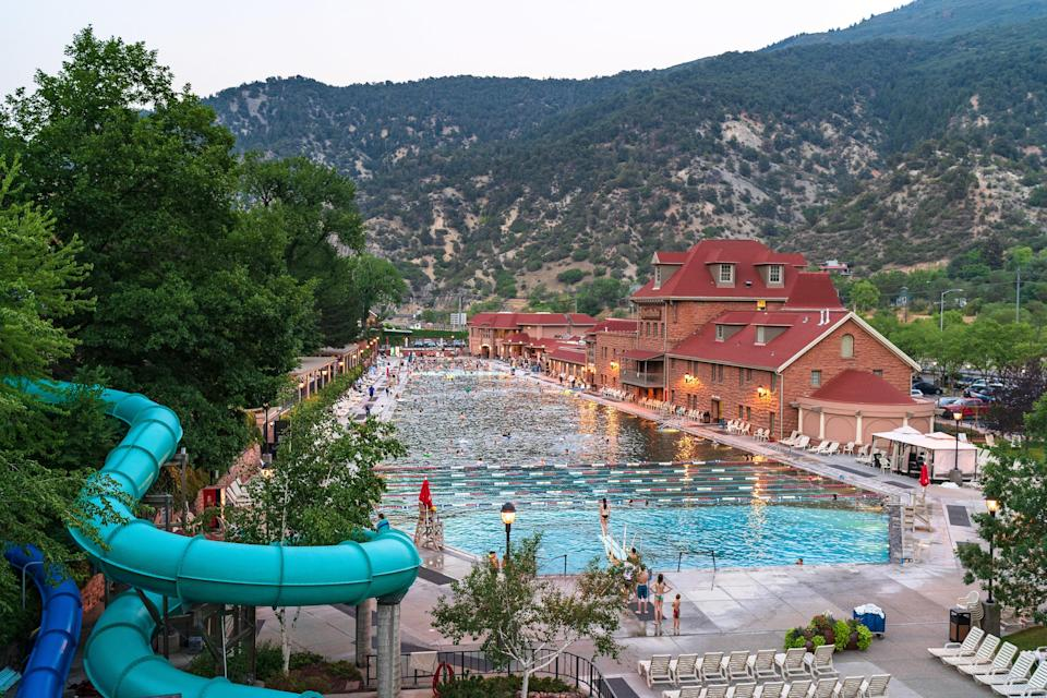 Waterslide in the mountains to a pool