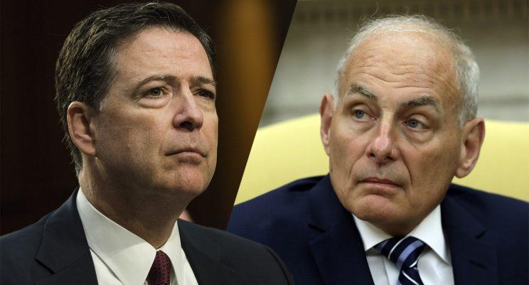 Former FBI director James Comey; White House chief of staff John Kelly. (Photos: Patsy Lynch/MediaPunch/IPX/AP; Evan Vucci/AP)