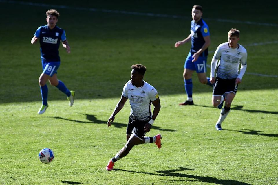 Jamal Lowe, in action against Preston this month, is among the Swansea players who have been racially abused.