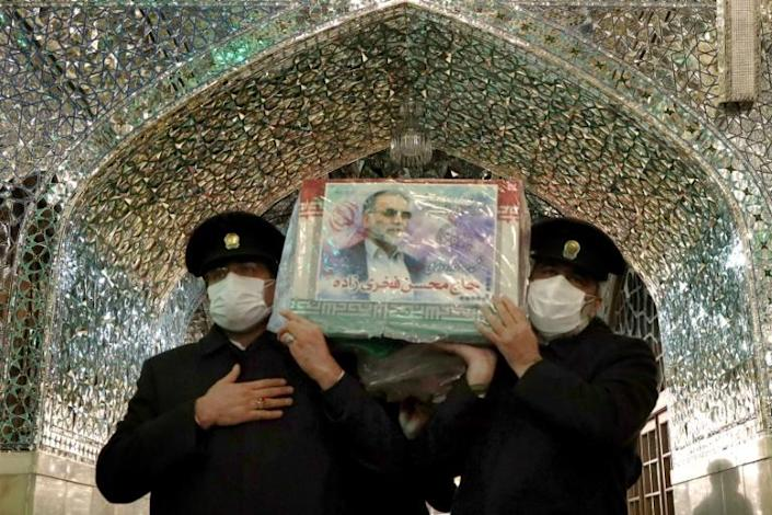 Fakhrizadeh's coffin is seen at a shrine in the northeastern city of Mashhad ahead of his burial on Monday
