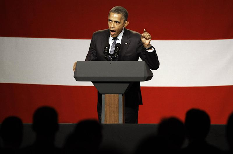 President Barack Obama speaks at a campaign fundraiser sponsored by the Lesbian, gay, bisexual and transgender community, at the Beverly Wilshire Hotel in Beverly Hills, Calif.,  Wednesday, June 6, 2012. (AP Photo/Reed Saxon)