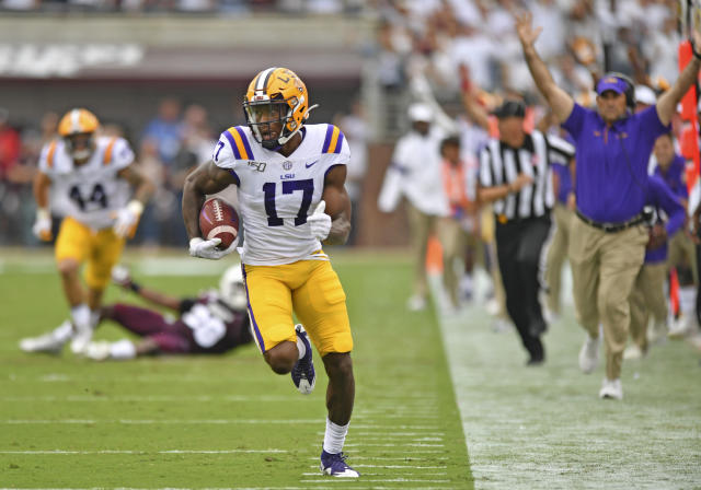 LSU wide receiver Racey McMath (17) carries the ball into the end zone for a touchdown against Mississippi State during an NCAA college football game, Saturday, Oct. 19, 2019, in Starkville, Miss. (Hilary Scheinuk/The Advocate via AP)