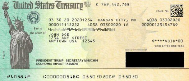 PHOTO: An April 2020 draft of an economic stimulus payment check, obtained by ABC News, shows then-Treasury Secretary Steven Mnuchin's name alongside then-President Donald Trump's. (U.S. Department of the Treasury)