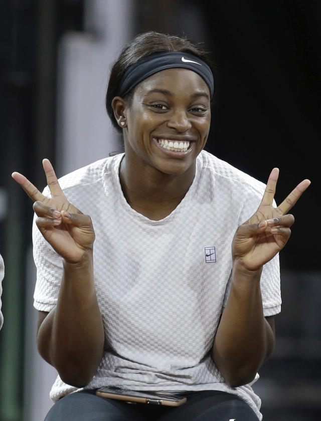 United States' Sloane Stephens gestures as she attends a training session, in Aix-en-Provence, Friday, April 20, 2018. The Fed Cup semifinal matches between France and USA will take place Saturday and next Sunday. (AP Photo/Claude Paris)