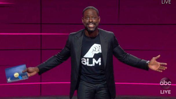 PHOTO: In this video grab, Sterling K. Brown presents the award for outstanding drama series during the 72nd Emmy Awards broadcast on ABC, Sept. 20, 2020. (ABC via AP)