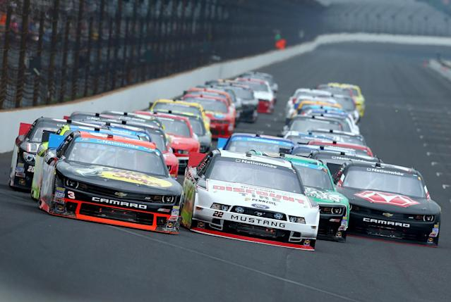 Get excited for restrictor plate racing at Indianapolis. (Getty)
