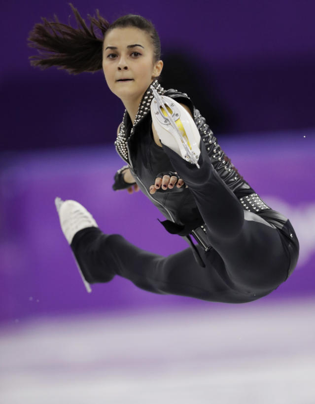 <p>Ivett Toth of Hungary performs during the women's short program figure skating in the Gangneung Ice Arena at the 2018 Winter Olympics in Gangneung, South Korea, Wednesday, Feb. 21, 2018. (AP Photo/Bernat Armangue) </p>