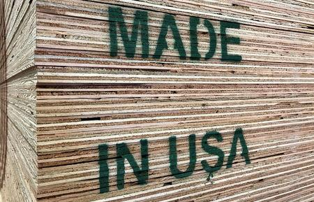 U.S. made plywood is shown for sale in Los Angeles