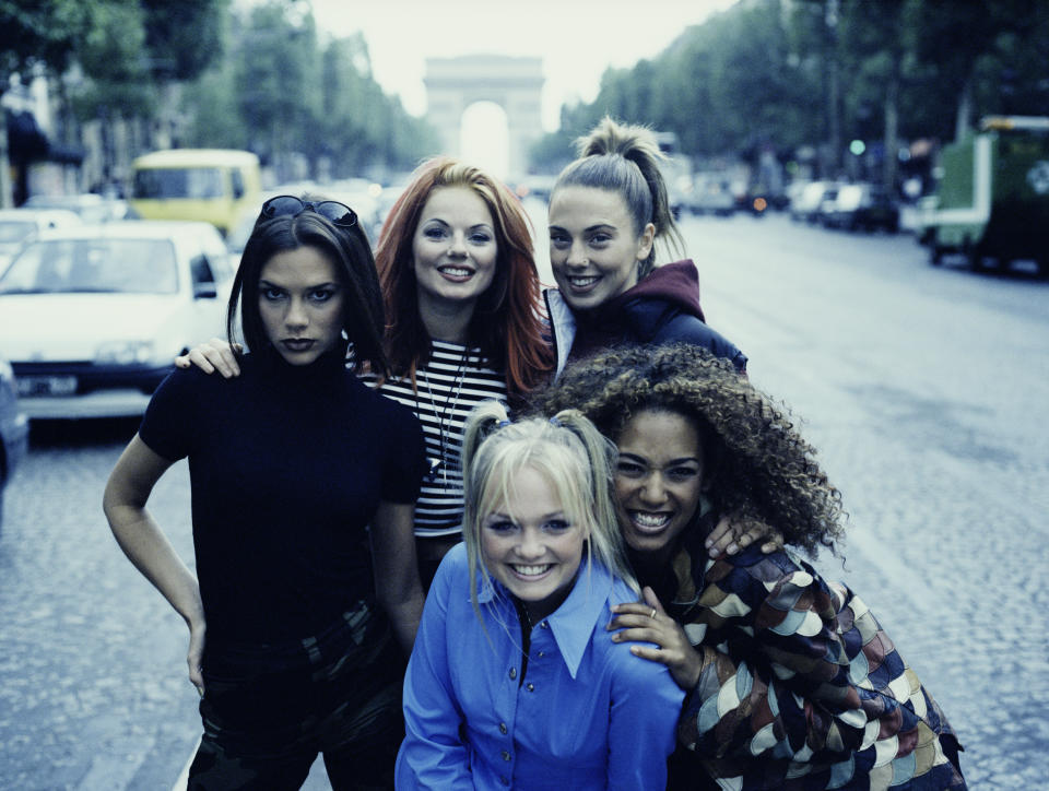 English pop girl group The Spice Girls in Paris, September 1996. Clockwise, from front: Emma Bunton ('Baby Spice'), Victoria Beckham ('Posh Spice'), Geri Halliwell ('Ginger Spice', Melanie Chisholm ('Sporty Spice') and Melanie Brown ('Scary Spice'). (Photo by Tim Roney/Getty Images)