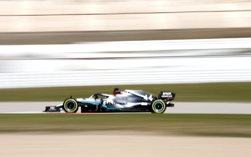 Mercedes driver Lewis Hamilton of Britain steers his car during the Formula One pre-season testing session at the Barcelona Catalunya racetrack in Montmelo, outside Barcelona, Spain, Friday, Feb. 28, 2020. (AP Photo/Joan Monfort)