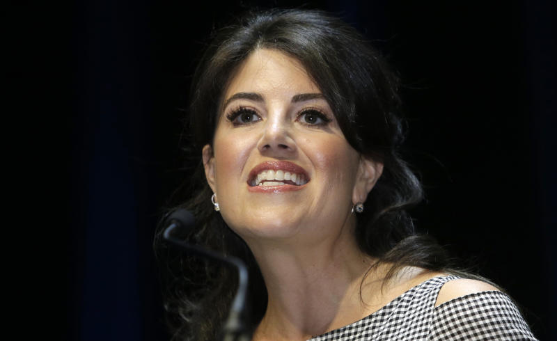 "FILE - In this June 25, 2015, file photo, Monica Lewinsky attends the Cannes Lions 2015, International Advertising Festival in Cannes, southern France.  Lewinsky says she stormed offstage at a Jerusalem event because of an interviewer's ""off limits"" question about former President Bill Clinton. The former White House intern turned anti-bullying activist tweeted early Tuesday, Sept. 4, 2018,  that there were agreed-upon parameters regarding the topics of her conversation about the perils of the internet. (AP Photo/Lionel Cironneau, File)"