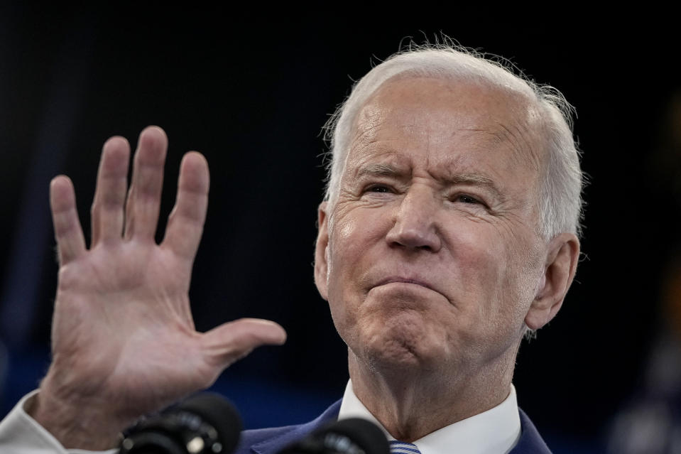 US president Joe Biden delivers remarks on the COVID-19 response and the state of vaccinations in the South Court Auditorium at the White House complex on 29 March in Washington, DC. Photo: Drew Angerer/Getty Images