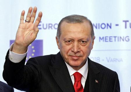 FILE PHOTO: Turkish President Tayyip Erdogan waves during a news conference in Bulgaria