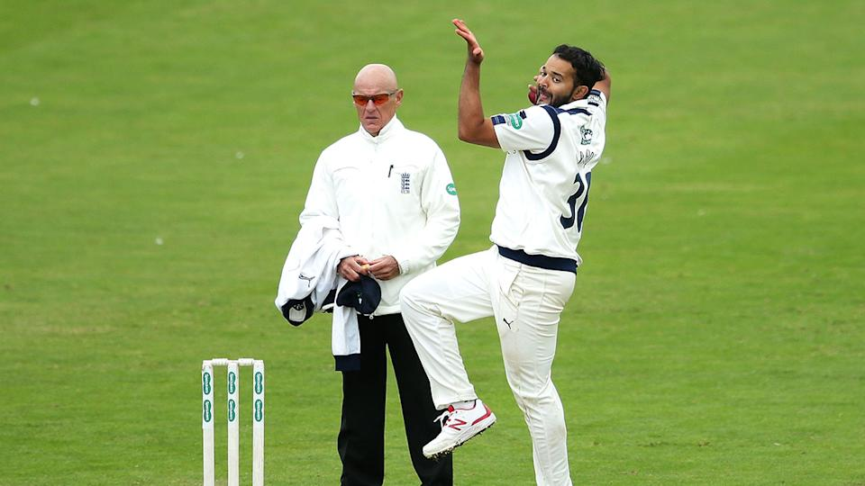 Azeem Rafiq can be seen bowling for Yorkshire during his stint with the English county.